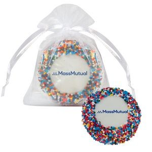 Custom Chocolate Covered Oreo® Organza Bag - Rainbow Nonpareil Sprinkles