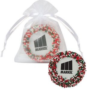 Custom Chocolate Covered Oreo® Organza Bag - Holiday Nonpareil Sprinkles