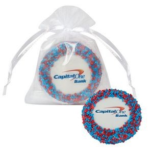 Custom Chocolate Covered Oreo® Organza Bag - Corporate Color Nonpareil Sprinkles